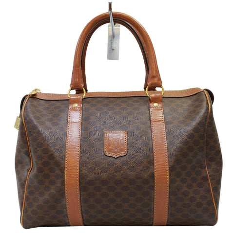 CELINE Macadam Pattern PVC Leather Brown Satchel Bag
