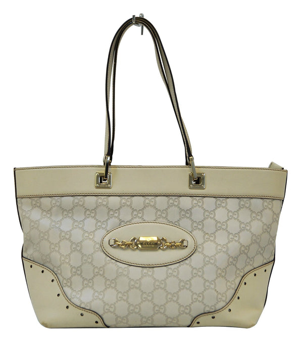 Gucci 145993 Cream Guccissima Leather Gold-tone Tote Shoulder Bag