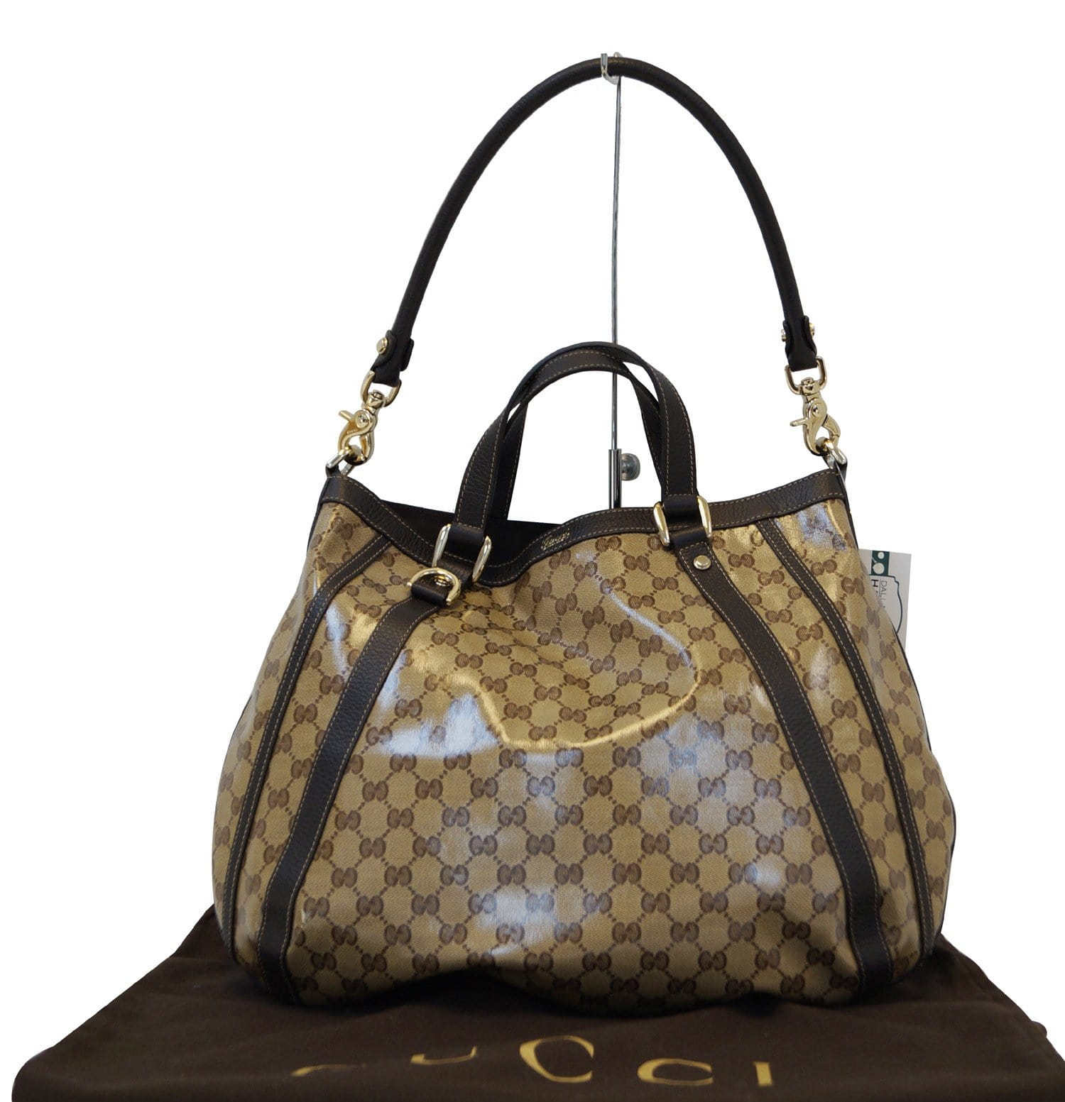 b7ac385320b1 Authentic GUCCI GG Coated Canvas Abbey Convertible Shoulder Bag TT1309