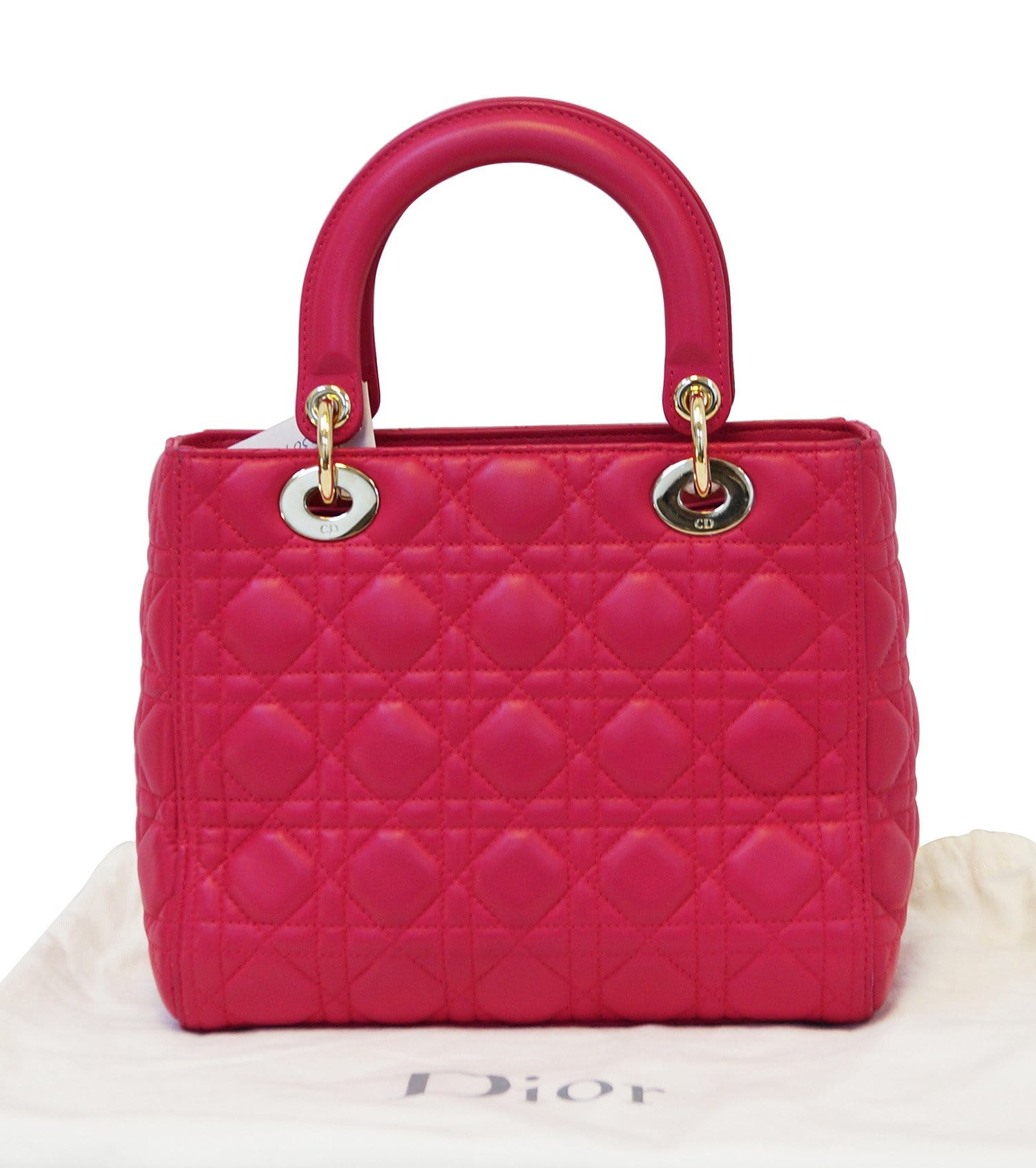Authentic CHRISTIAN DIOR Cannage Quilted Lambskin Medium Lady Dior Bag 1da4f426c7