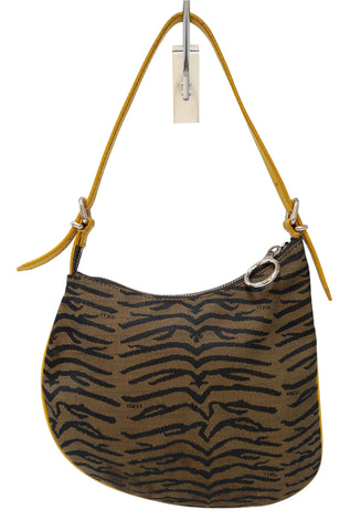 FENDI Canvas Zebra Print Oyster Hobo Bag
