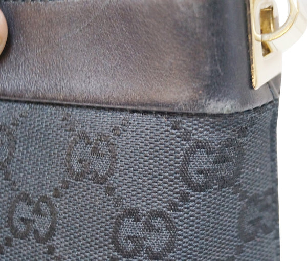 GUCCI GG Signature Monogram Black Leather Shoulder Bag