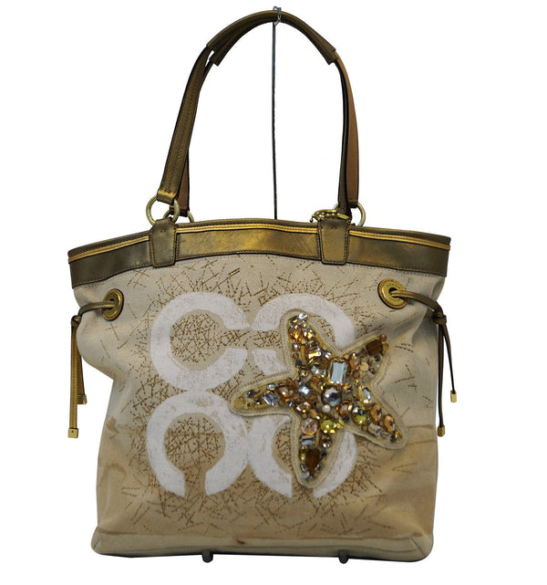 COACH Audrey Seaside Resort Jeweled Starfish Tote Bag E3097