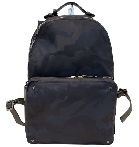 VALENTINO Nylon Jacquard Camo Backpack Black