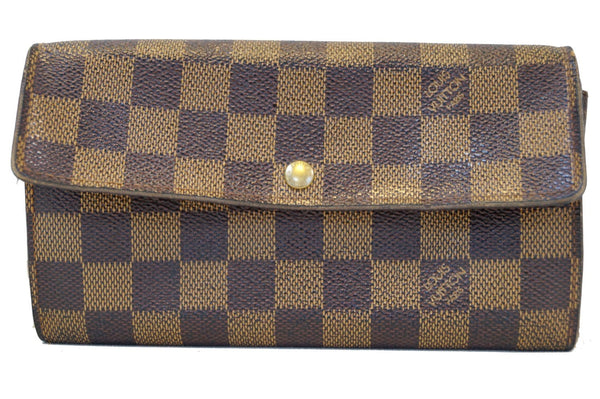 LOUIS VUITTON Damier Ebene Sarah Long Bifold Wallet.