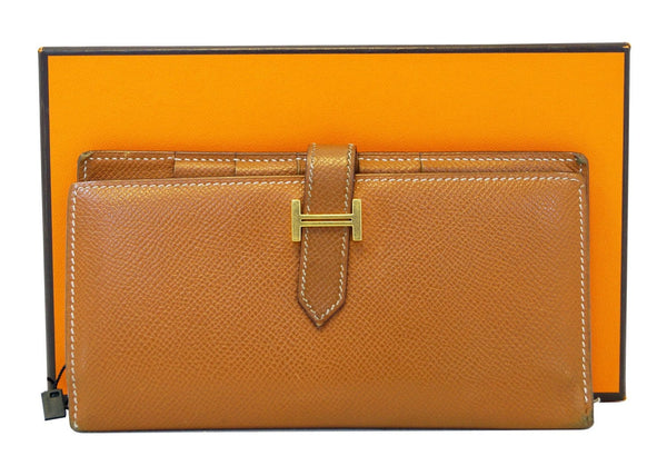 HERMES Bearn Epsom Leather Noisette Long Bifold Wallet - Final Call