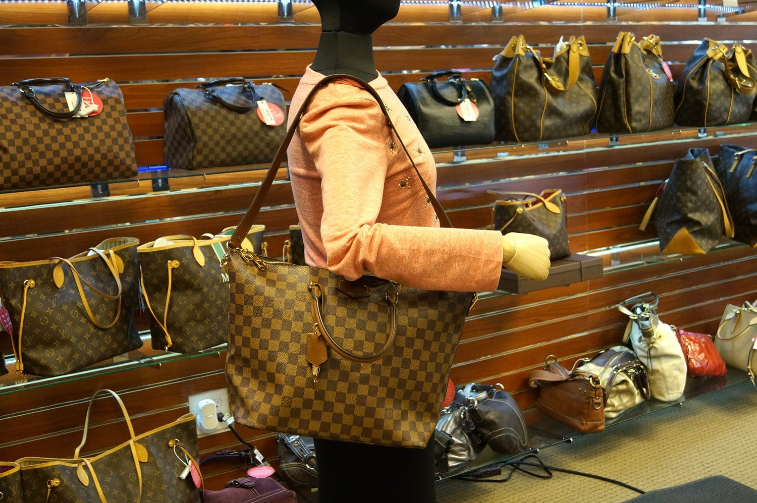LOUIS VUITTON Damier Ebene Belmont Shoulder Handbag