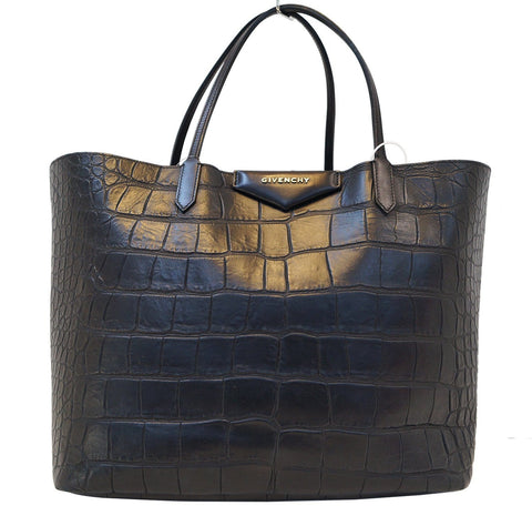 GIVENCHY Antigona Shopper Embossed Crocodile Shoulder Handbag