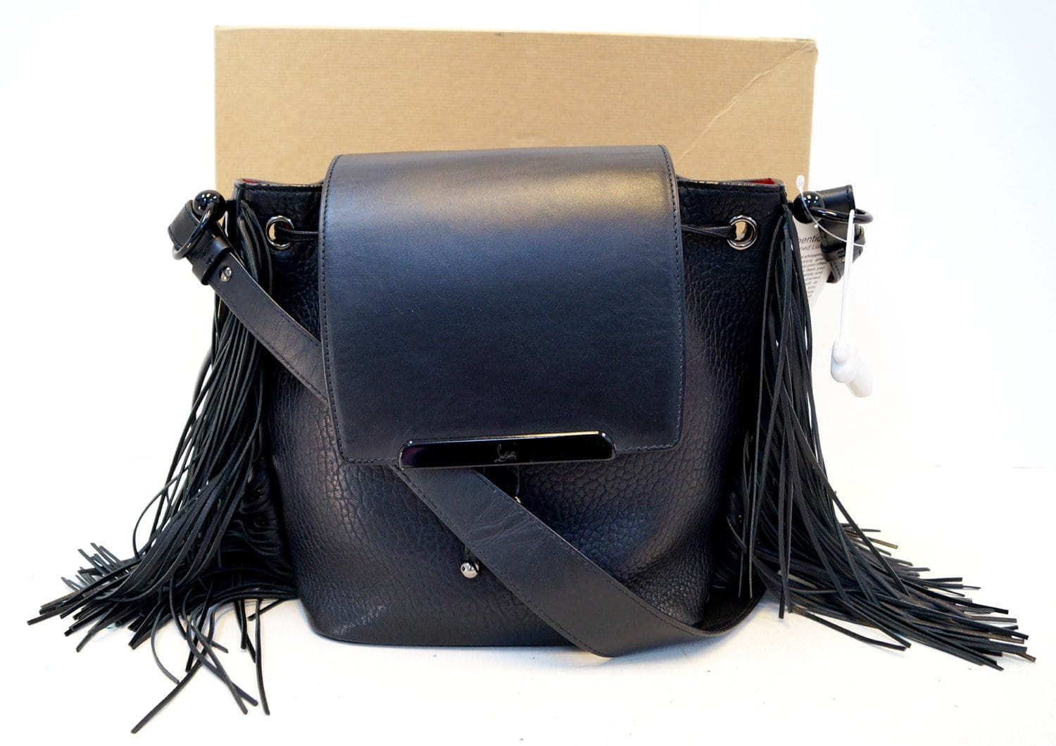 e0378d02ee CHRISTIAN LOUBOUTIN Black Pebbled Leather Fringe Lucky L Backpack - Final  Call