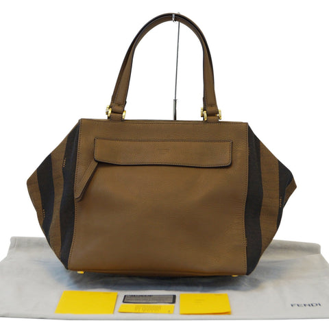 Authentic Fendi Pecan Canvas Leather Black/Brown Shoulder Bag - 30% Off