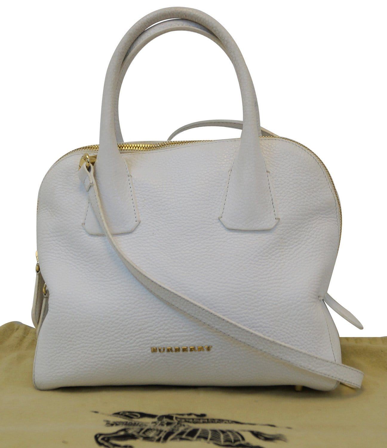 BURBERRY Grainy Leather White Bowling Shoulder Bag - 20% Off c63e96d9415f5
