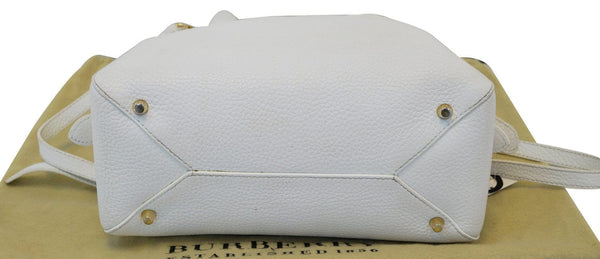 BURBERRY Grainy Leather White Bowling Shoulder Bag - 20% Off