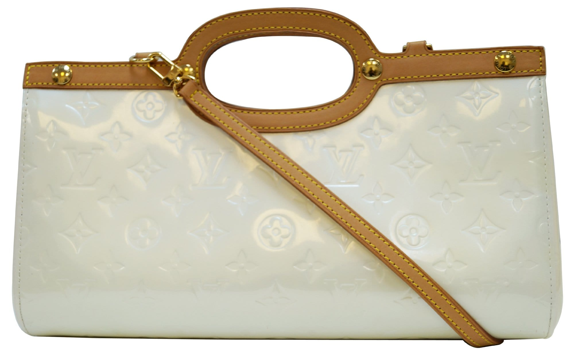 LOUIS VUITTON Cream Vernis Leather Roxbury Drive Shoulder Bag a4179f1f0e998