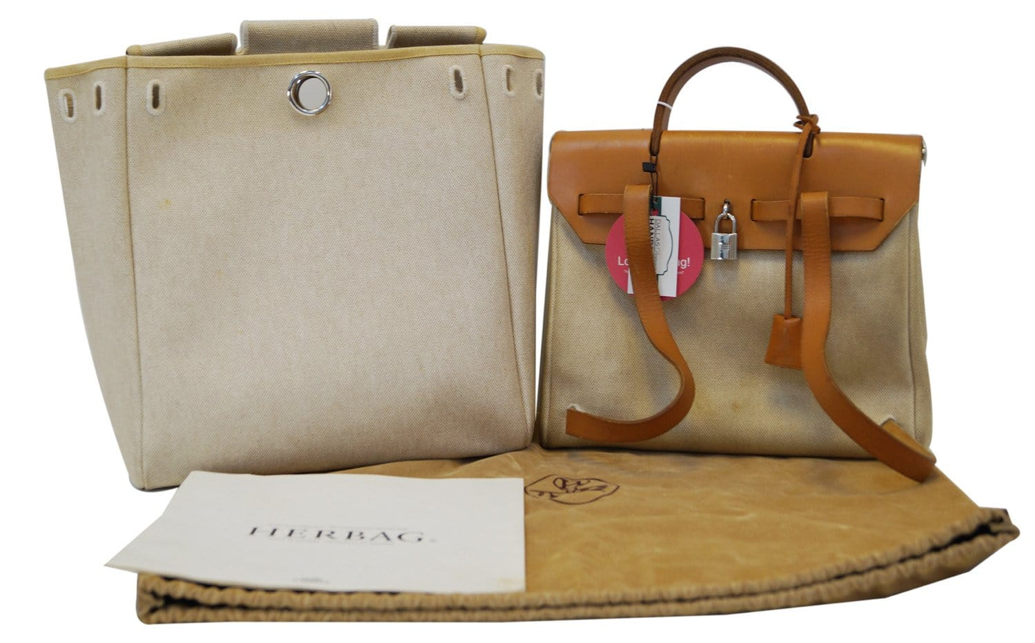 e0498196b24ed Hermes 30cm Natural Toile and Leather 2-in-1 Herbag PM Backpack Bag -