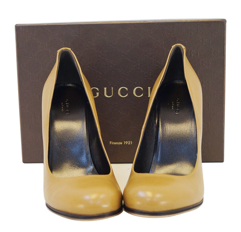 Authentic GUCCI Leather Heel Pump Interlocking G 329837 Size 40 E3150