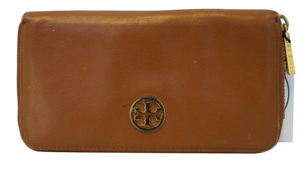 Tory Burch Verona continental Zip Around Leather wallet Brown E2847