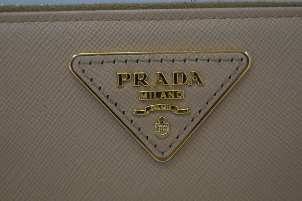 Prada Saffiano Zip-Around Beige Ladies Wallet - Prada Triangle Logo