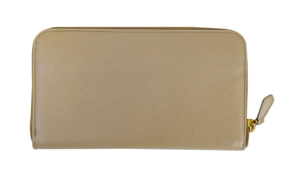 Prada Saffiano Zip-Around Beige Ladies Wallet - back side View