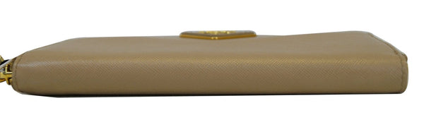 Prada Saffiano Zip-Around Beige Ladies Wallet-Laid Flat View
