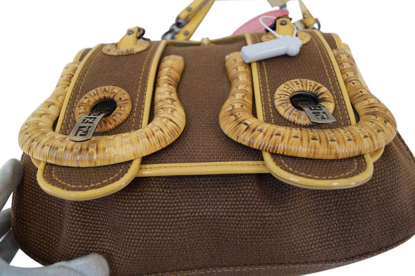 Fendi Raffia B Canvas Brown Shoulder Bag Mint Condition - Final Call