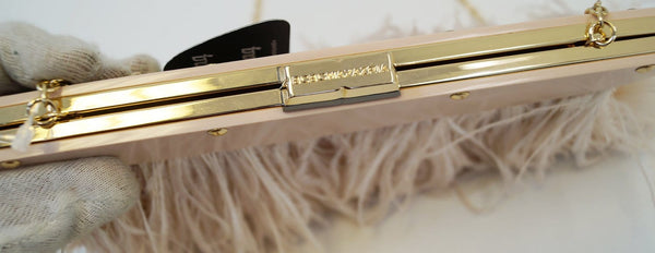 Authentic BCBGMAXAZRIA Clutch Bags Portia Ostrich Feather - gold lock
