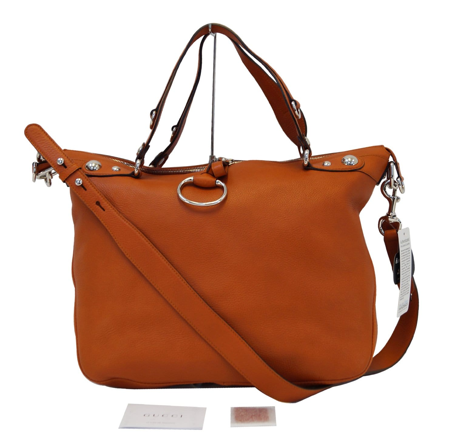 1d09f8be63b1 Authentic GUCCI Orange Pebbled Leather Icon Bit Large Hobo Bag TT1367