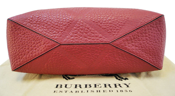 Burberry Dewsbury Red Leather Medium Check Tote Bag - Final Call