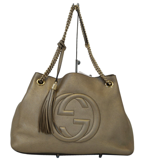 Gucci Soho Gold Pebbled Leather Chain Shoulder Bag