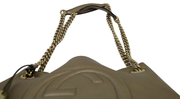 Authentic GUCCI Gold Pebbled Leather Soho Chain Tote Bag TT1339