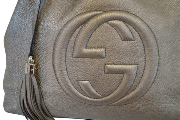Gucci Soho Gold Pebbled Leather Chain Shoulder Bag - gucci logo