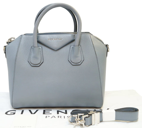 GIVENCHY Grey Goatskin Leather Small Antigona Shoulder Bag