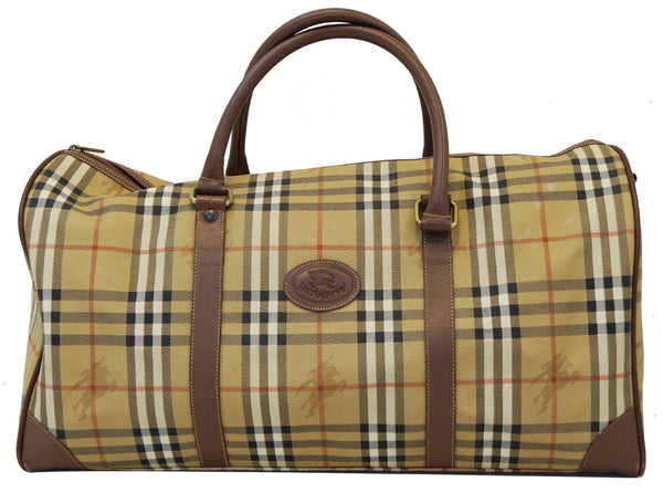 Burberry Travel Bag - Burberry Nova Check Leather Brown