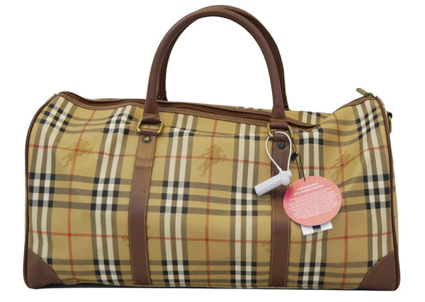 Burberry Travel Bag - Burberry Nova Check Leather Brown - strip