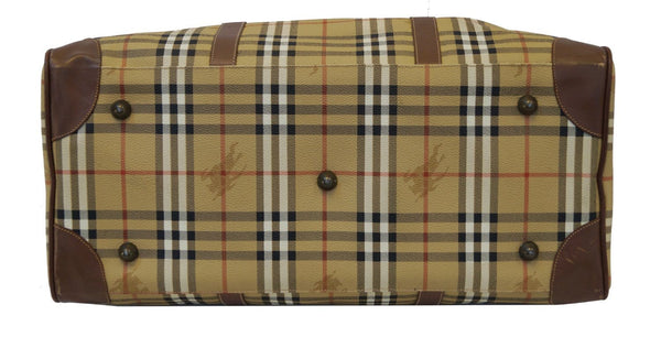 Burberry Travel Bag - Burberry Nova Check Leather Brown - back view