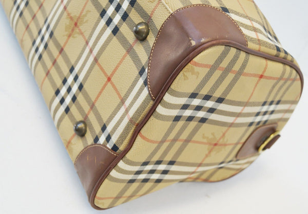 Burberry Travel Bag - Burberry Nova Check Leather Brown - corner