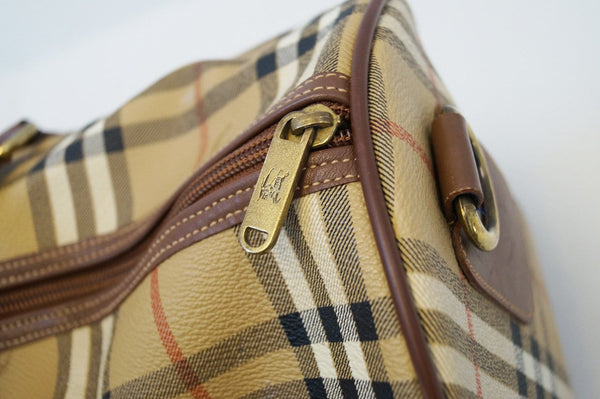 Burberry Travel Bag - Burberry Nova Check Leather Brown - zip