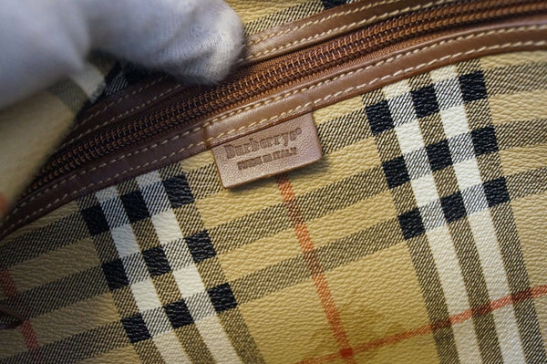 Burberry Travel Bag - Burberry Nova Check pure Leather Brown