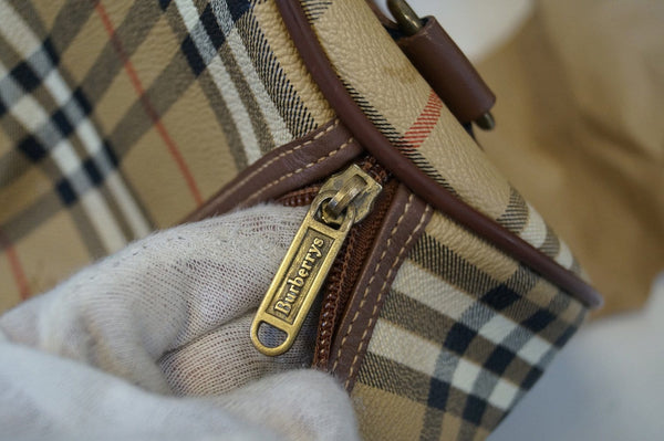 Burberry Travel Bag - Burberry Nova Check Leather Brown - gold zip