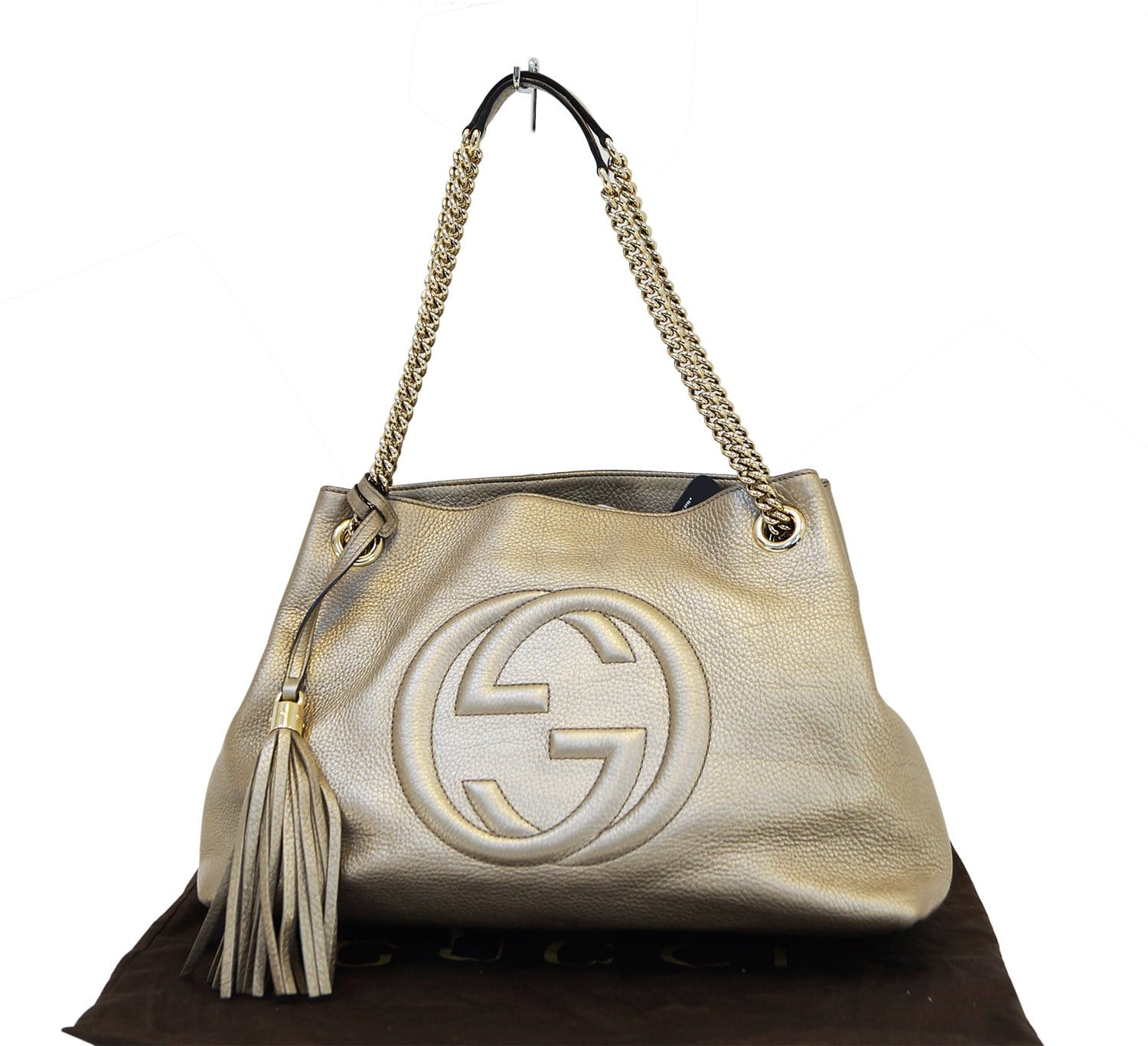 0a5b30809444 Authentic GUCCI Gold Pebbled Leather Soho Chain Tote Bag E3184