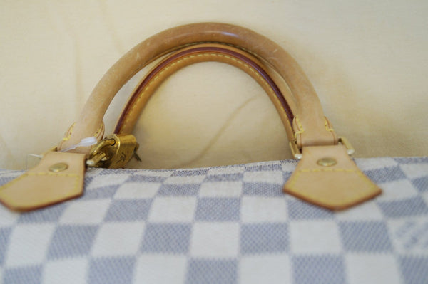 Authentic LOUIS VUITTON Speedy 30 Damier Azur White  Bag TT1382