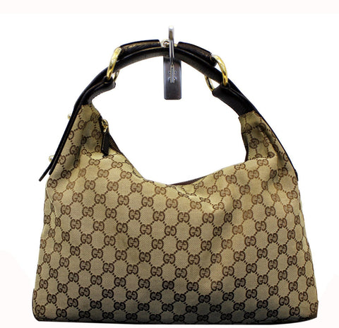 GUCCI Beige GG Canvas Medium Horsebit Hobo Bag