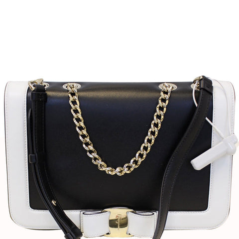 Salvatore Ferragamo Black/White Vara Flap Shoulder Crossbody Bag