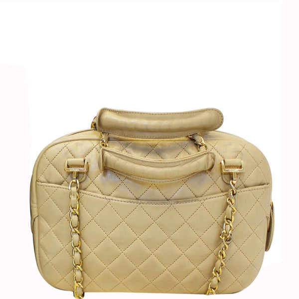 CHANEL Beige Lambskin Leather Camera Shoulder Bag - 15% OFF