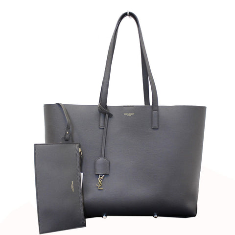 Yves Saint Laurent Black Leather Shopping Tote Bag