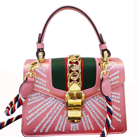 GUCCI Mini Sylvie Satin Crystal Shoulder Bag Peony - Daily Deal