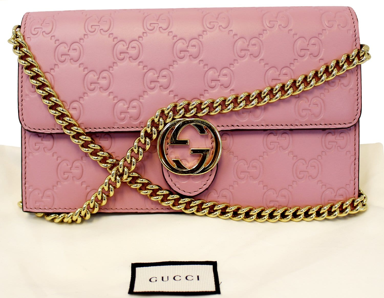52db177bb0a2 Authentic GUCCI Icon Gucci Signature Chain wallet Light Pink 409340 E3601