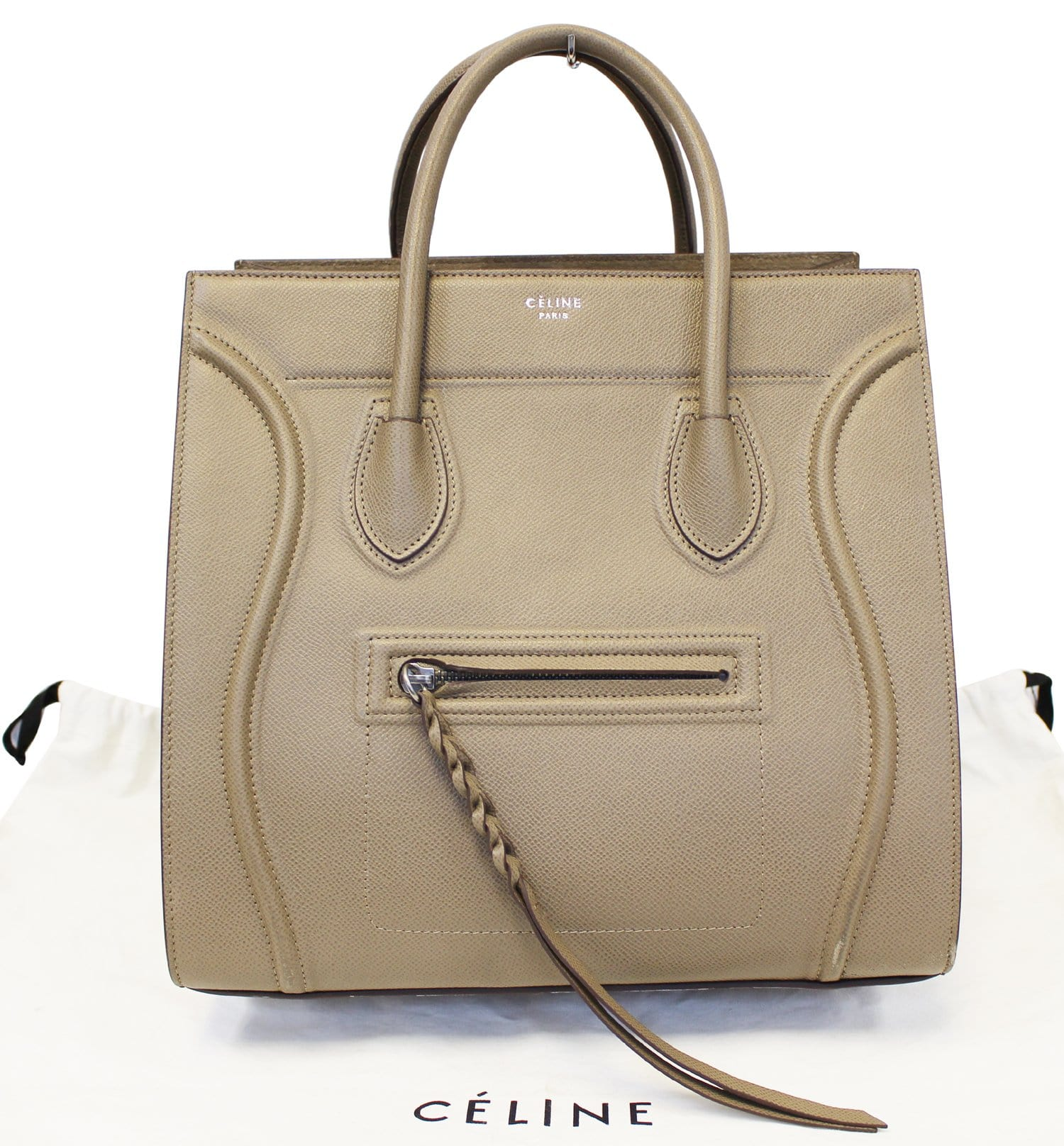 eaa4d764cd CELINE Taupe Grained Calfskin Leather Large Phantom Luggage Tote Bag ...