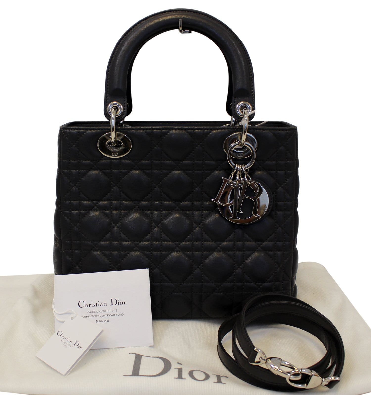 86255bbb57b CHRISTIAN DIOR Cannage Quilted Lambskin Leather Lady Dior Medium Bag
