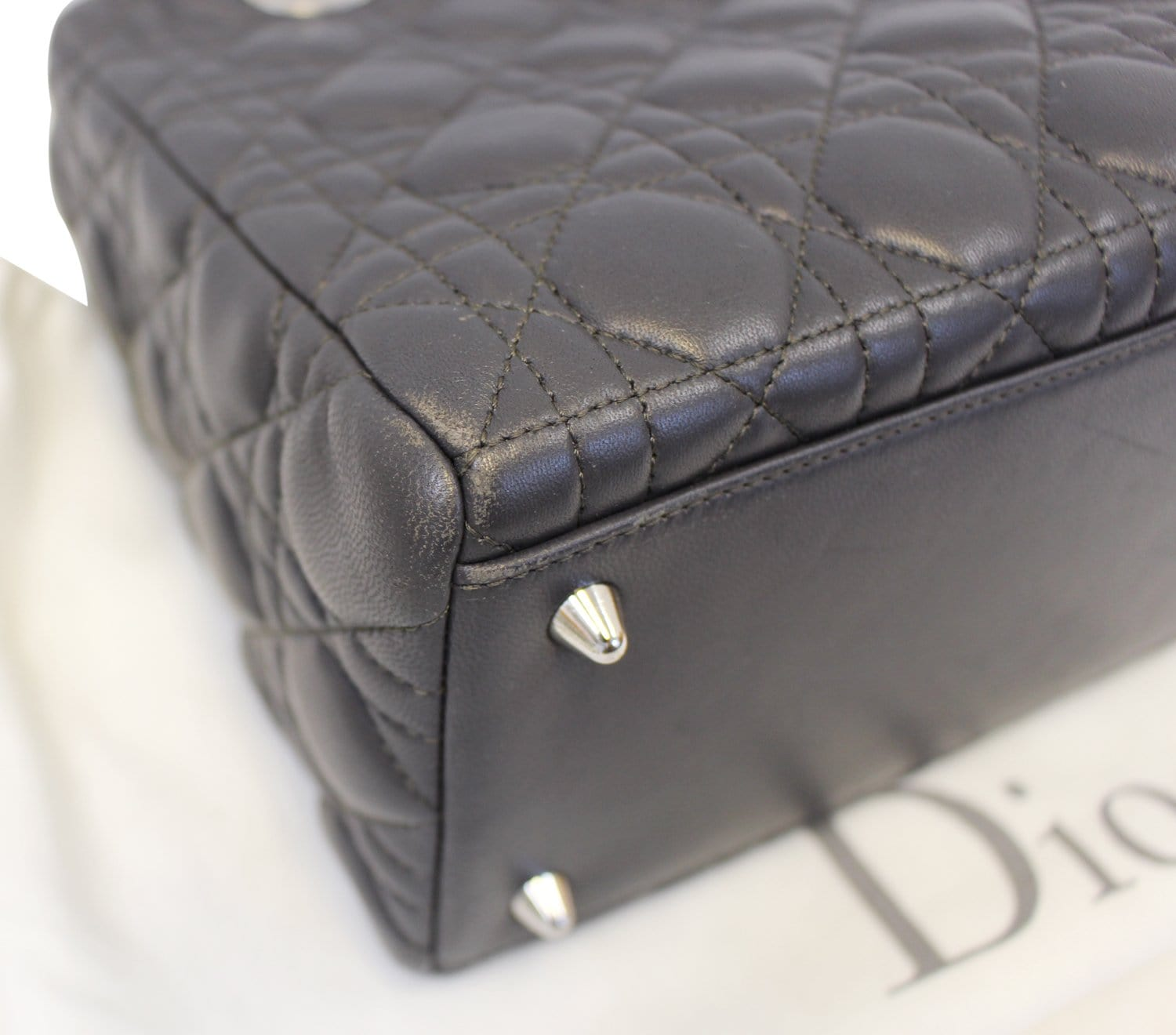 CHRISTIAN DIOR Cannage Quilted Lambskin Leather Lady Dior Medium Bag ... 11bf8cba6ef81