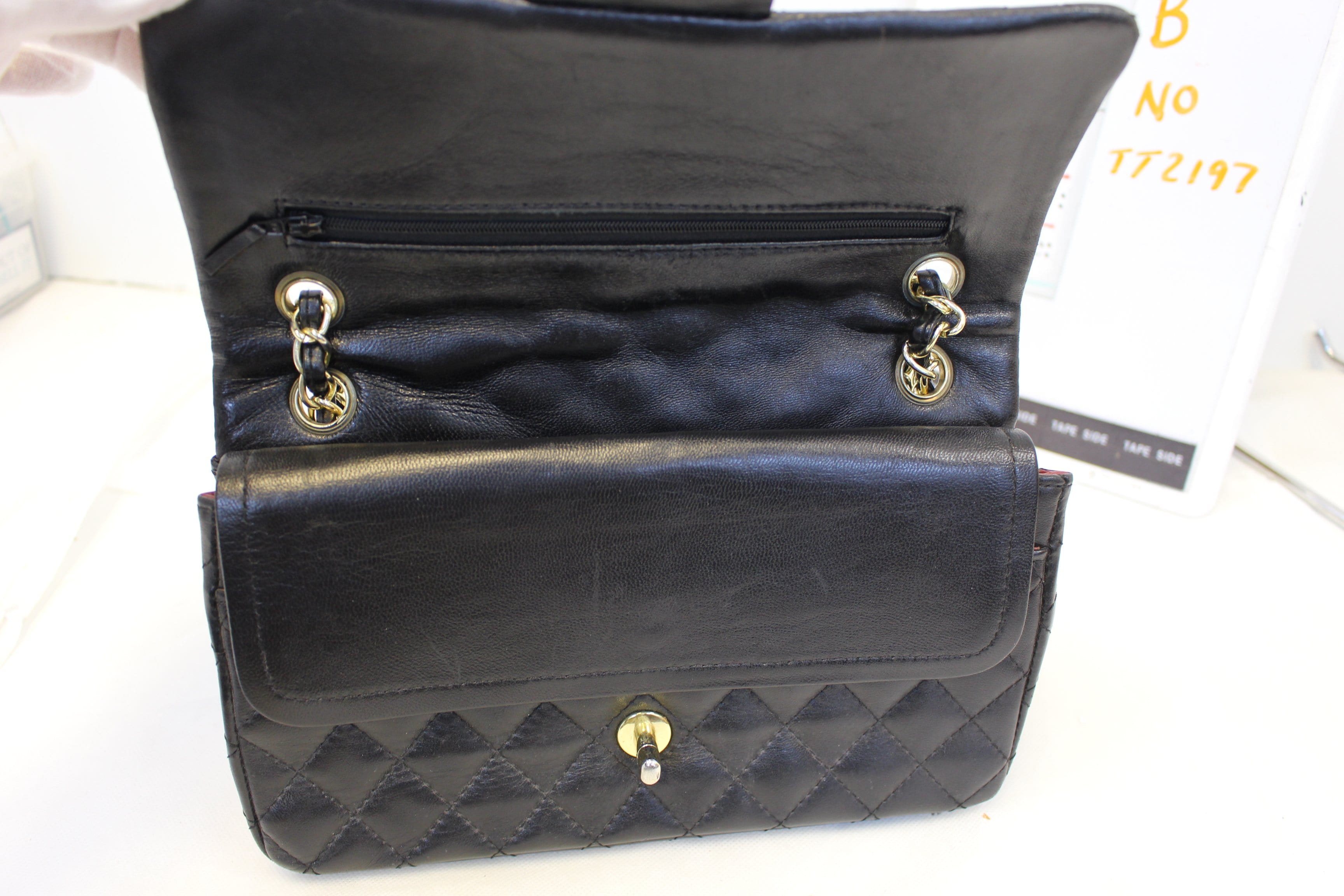 59c598ac1af6ba CHANEL Quilted Lambskin Leather Double Flap Classic Medium Black Bag